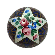 SOLD Enamel Star & Roses Brass High Dome Button