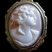14k White Gold Rosalyn Shell Woman Cameo Pin