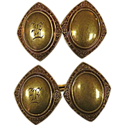 14K Victorian Double Link Monogram E Cuff Links