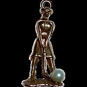 Kinetic Lady Golfer 14k YG Charm Cultured Pearl Ball