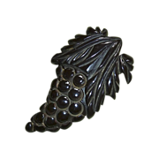 Figural Carved Grapes Dark Brown Bakelite Clip