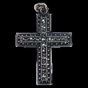 Art Deco Sterling Marcasite Dimensional Cross Pendant