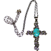 Mexican Sterling Cross of Swirls & Turquoise