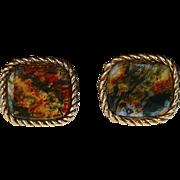 14k Yellow Gold Moss Agate Cufflinks c1950s