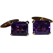 Antique 14k Rose Gold Amethyst Cufflinks