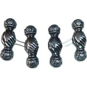 Antique Victorian Sterling Clasping Hands Cuff Links