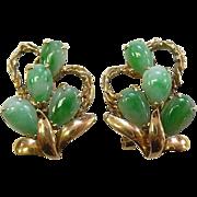 14k Yellow Gold & Jadeite Teardrop Earrings c1950s