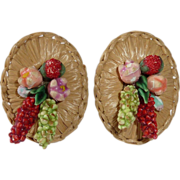 Straw Platter Clip Earring with Flowers