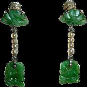 Art Deco 14k Carved Jade & Pearl Earrings