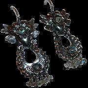 SALE Mexican Sterling Hearts Birds Flowers Pierced Drop Earrings