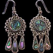 Mexican Abalone Inlay Dangle Earrings