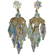 Aurora Borealis Layered Crystal Chandelier Clip Earrings c1950s