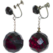 Faceted Cherry Amber Bead Drop Earrings