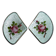 Ivar Holth Norway Sterling Guilloche Enamel Rose Earrings