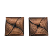 Copper Hammered Large Clip Earrings