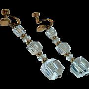 Gold Filled Screw Back Crystal Polygon Bead Drop Earrings