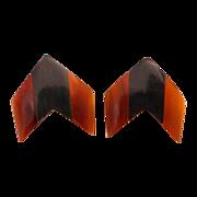Laminated Natural Horn Chevron Earrings
