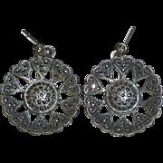 SALE Sterling Marcasite Pierced Daisy Earrings Heart Petals