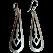 Mexican Sterling & Enamel Long Teardrop Earrings