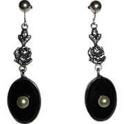 Art Deco Sterling Onyx Glass Pearl Drop Earrings