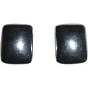 Designer Sterling Silver Puffed Rectangle Clip Earrings
