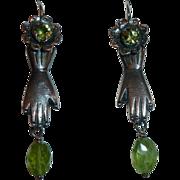 Mexican Sterling Earrings Friendship Hands Flowers Peridot