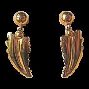 Vintage 14k Arrowhead Leaf & Berry Screw Back Drop Earrings