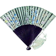 SOLD Hand Held Fan Confetti Lucite-Wood-Silk Screened Floral