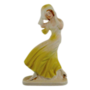 Japan Porcelain Figurine Woman in a Wide Brim Hat