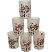 Set 6 Bottoms Up Frosted Shot Glasses Can-Can Girls