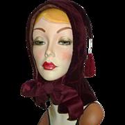 Antique Victorian Cabernet Wine Silk Velvet Hood Hat