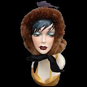 Victorian Velvet & Fur Hood Style Hat w Original Box