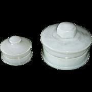 Pair of Milk Glass Vanity Lidded Jars