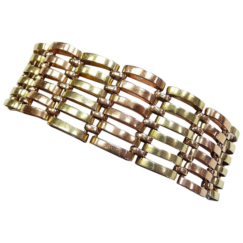 Superb Art Deco Rose & Green Gold Wide Link Bracelet