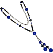 Art Deco Flapper Necklace w Cobalt Blue & Black Glass Beads