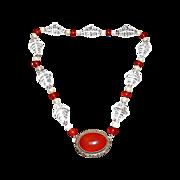 Art Deco Bead Necklace Quartz~Carnelian~Cultured Pearls