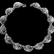 Danecraft Sterling Calla Lily & Leaf Link Necklace