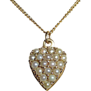 SALE Antique Victorian 14k Pearl Studded Heart & Chain