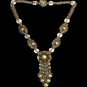 Brass Necklace Faux Pearl Pendant Graduated Drops