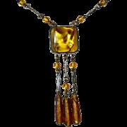 Art Deco Golden Yellow Foil Glass Pendant Necklace 3 Bead Drops