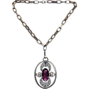 Silver Tone Victorian Revival Necklace w Large Purple Jewel Pendant