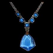Art Deco Silver Tone Necklace~Blue Glass Jewels