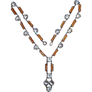 Art Deco Sterling Amber & Crystal Necklace