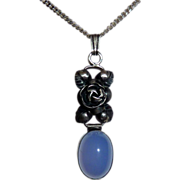 Sterling & Chalcedony Pendant Necklace