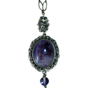 Sterling Filigree Necklace w Amethyst Drop