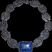 Art Deco Sterling Floral Link Necklace Large Lapis Cabochon