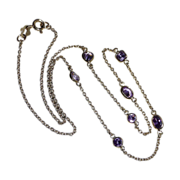 Sterling Vermeil Chain Necklace 7 Amethysts