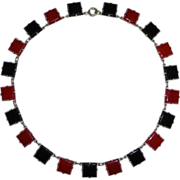 Art Deco Czech Necklace Black & Carnelian Glass Squares