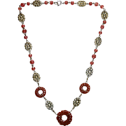 Czech Art Deco Carnelian Glass Donuts & Daisy Necklace