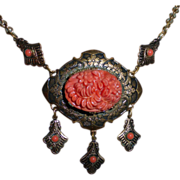 Victorian Revival Coral Glass Necklace